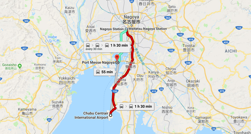 From Central Japan International Airport Station to Portmesse Nagoya